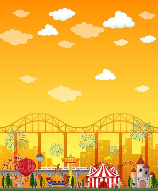 Scena Parku Rozrywki W Ciągu Dnia Z Pustym żółtym Niebem Darmowych Wektorów