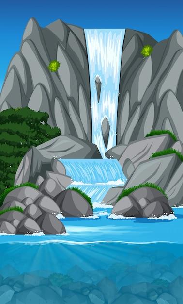 Scena piękny krajobraz wodospadu Premium Wektorów
