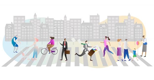 Scena pośpiechu miasta z ludźmi Premium Wektorów