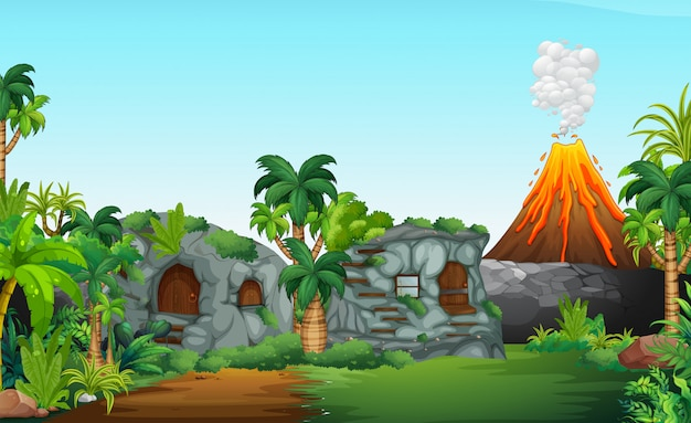 Scena prehistoryczna natury Darmowych Wektorów