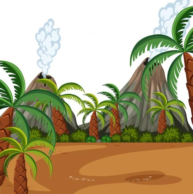 Scena Prehistoryczna Natury Premium Wektorów