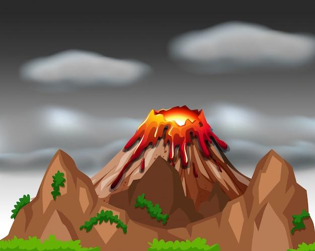 Scena Przyrodnicza Z Erupcją Wulkanu Darmowych Wektorów