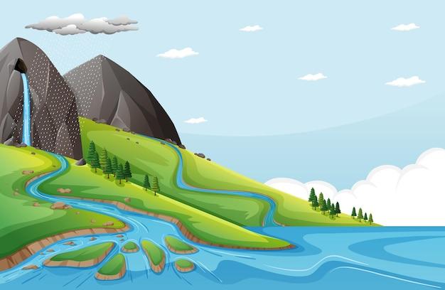 Scena Przyrody Z Wodą Spada Z Kamiennego Urwiska Premium Wektorów