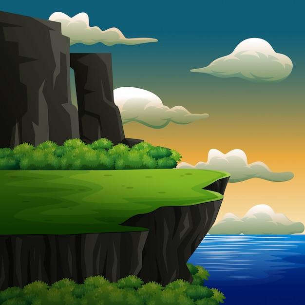 Scena Przyrody Z Wysokim Klifem Nad Brzegiem Morza Premium Wektorów