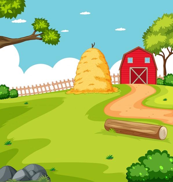 Scena Rolnicza W Naturze Ze Stajnią I Słomą Darmowych Wektorów