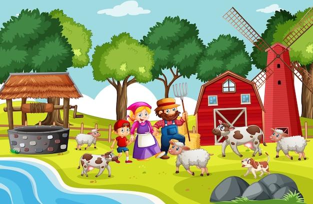 Scena Rymowanek Rolniczych Darmowych Wektorów