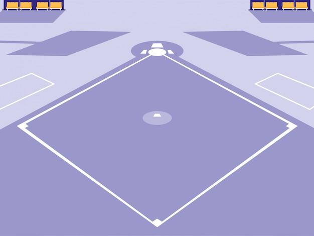 Scena Stadionu Sportowego Baseballu Premium Wektorów