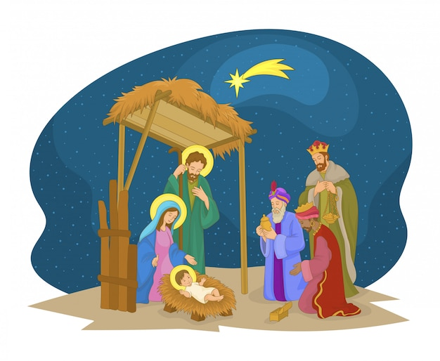 Scena świątecznego mangera. jezus, maryja, józef i magowie. Premium Wektorów