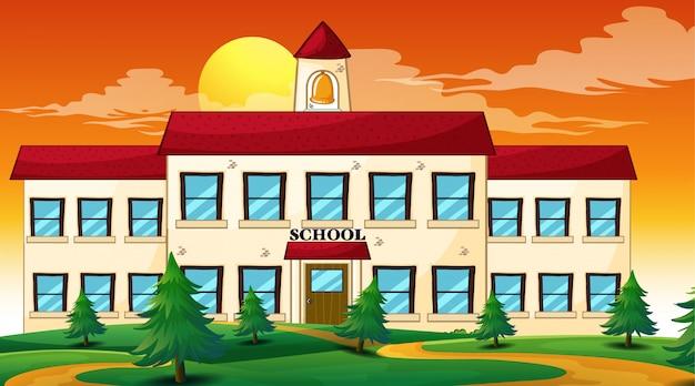 Scena szkolna zachód słońca Darmowych Wektorów