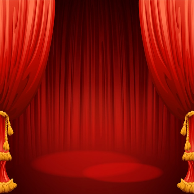 Scena Teatralna Z Czerwoną Kurtyną. Ilustracja Premium Wektorów