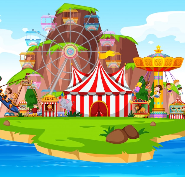 Scena Themepark Z Wieloma Przejażdżkami Nad Jeziorem Darmowych Wektorów