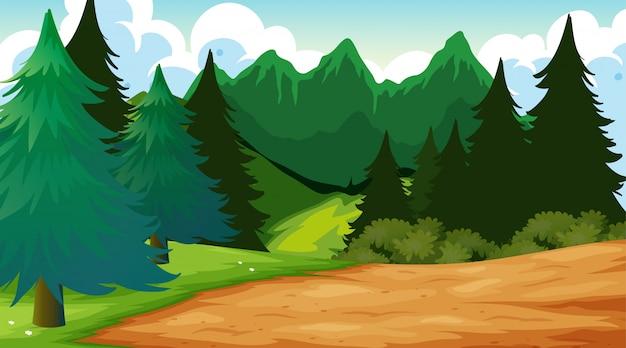 Scena Tło Zewnątrz Drewna Darmowych Wektorów