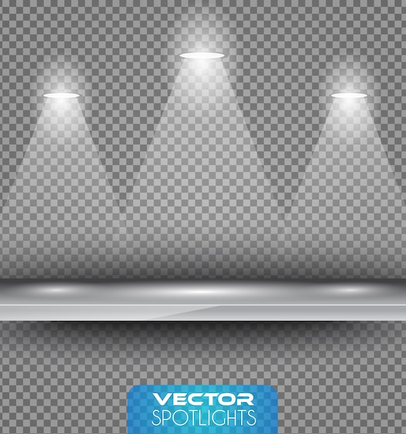 Scena vector spotlights z innym źródłem światła skierowanym na podłogę lub półkę. Premium Wektorów