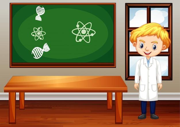 Scena W Klasie Z Nauczycielem Nauk ścisłych W środku Darmowych Wektorów
