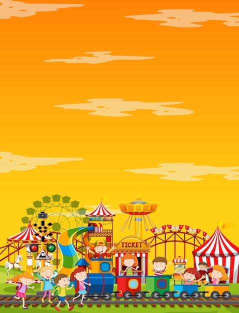 Scena W Parku Rozrywki W Ciągu Dnia Z żółtym Niebem Darmowych Wektorów