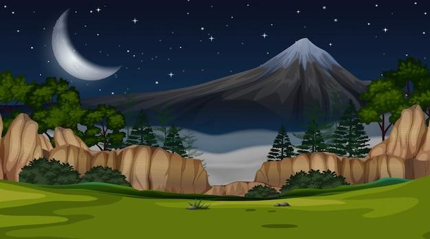 Scena widok górski w nocy tła Darmowych Wektorów