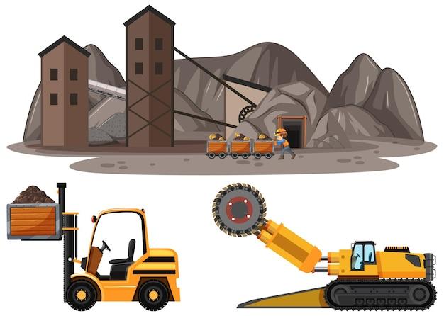 Scena Wydobycia Węgla Z Różnymi Typami Ciężarówek Budowlanych Darmowych Wektorów