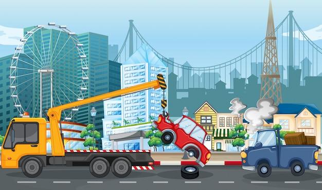 Scena wypadku z wypadku samochodowym i holowniczą ciężarówką w mieście Premium Wektorów