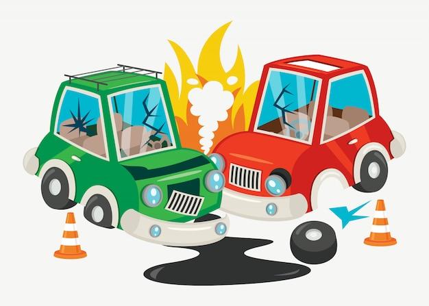 Scena Wypadku Z Wypadku Samochodowym Premium Wektorów