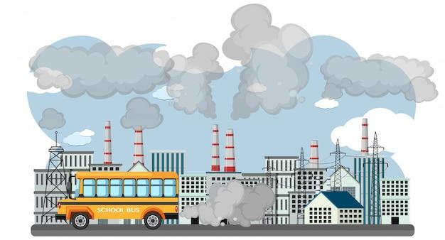 Scena Z Autobusu Szkolnego I Budynków Fabryki Zanieczyszczających Powietrze Premium Wektorów