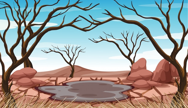 Scena z borowinowym stawem i wysuszonymi drzewami Darmowych Wektorów