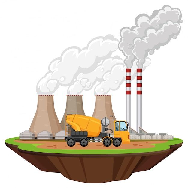Scena Z Budynkami Fabrycznymi I Betonowcem Na Stronie Darmowych Wektorów