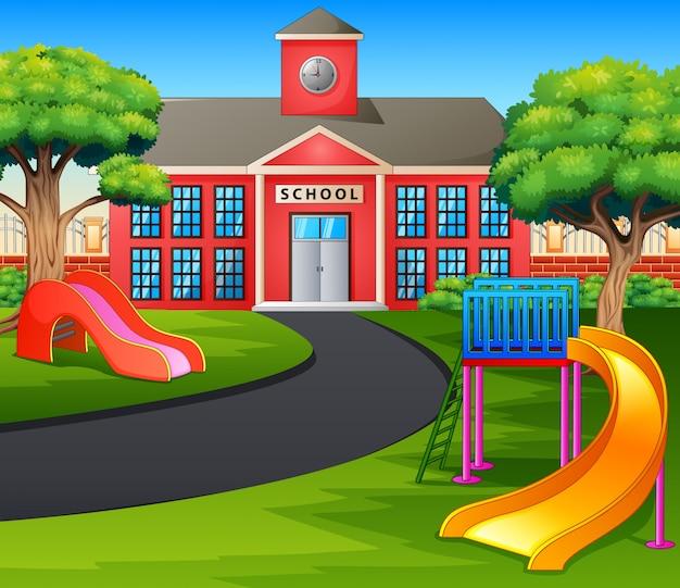 Scena Z Budynkiem Szkoły I Placem Zabaw Premium Wektorów