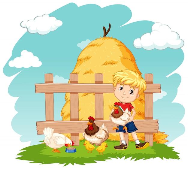 Scena Z Chłopcem I Wieloma Kurczakami Na Farmie Darmowych Wektorów