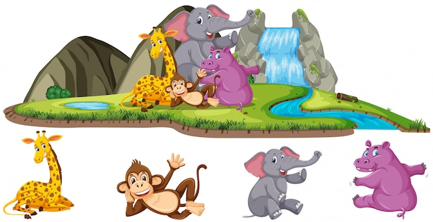 Scena Z Czterema Rodzajami Zwierząt Przy Wodospadzie Premium Wektorów