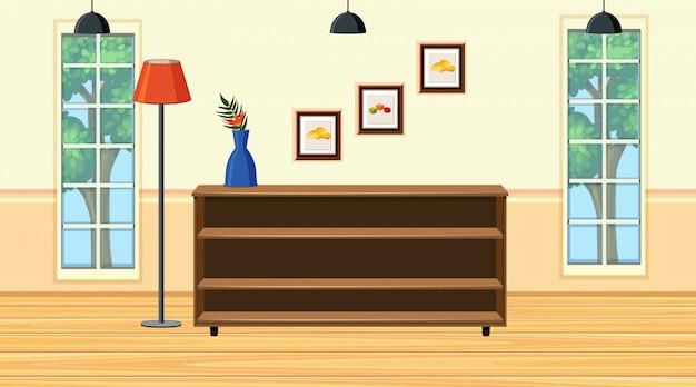 Scena z drewnianą półką w pokoju Premium Wektorów