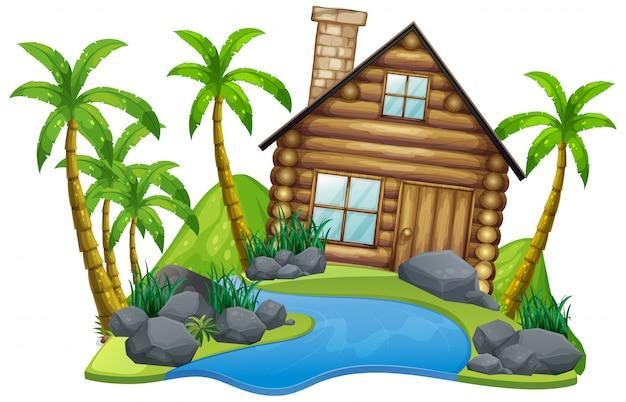 Scena Z Drewnianym Domem Na Wyspie Na Białym Tle Darmowych Wektorów