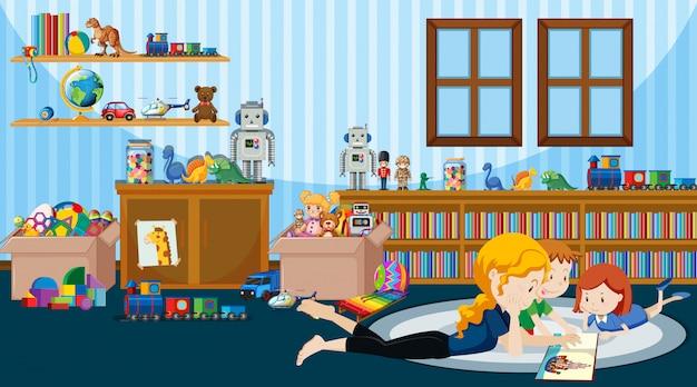 Scena Z Dziećmi Czytającymi Historię W Pokoju Premium Wektorów