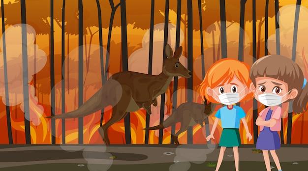 Scena Z Dziewczynami I Zwierzętami W Wielkim Pożarze Premium Wektorów