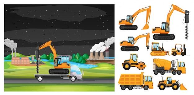 Scena Z Jazdą Ciężarówką Wzdłuż Strefy Przemysłowej Darmowych Wektorów