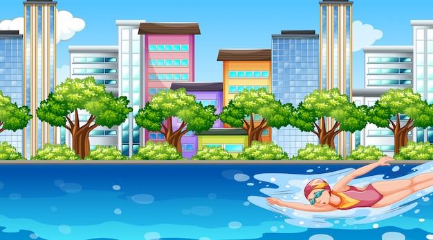 Scena Z Kobietą Pływającą W Rzece Premium Wektorów