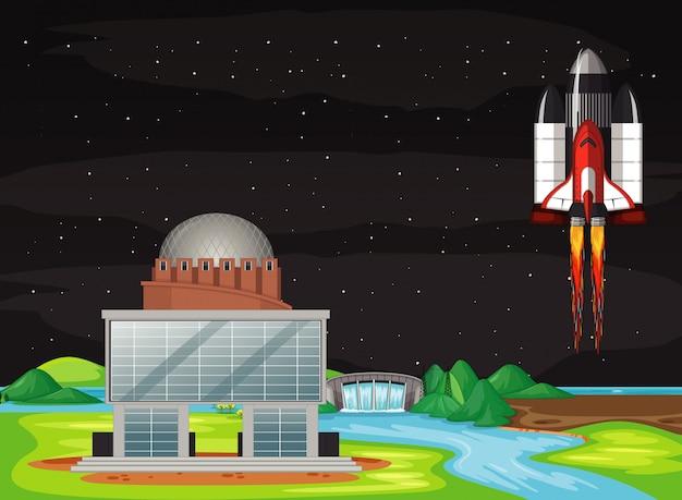 Scena Z Kosmicznym Latającym Na Niebie Darmowych Wektorów