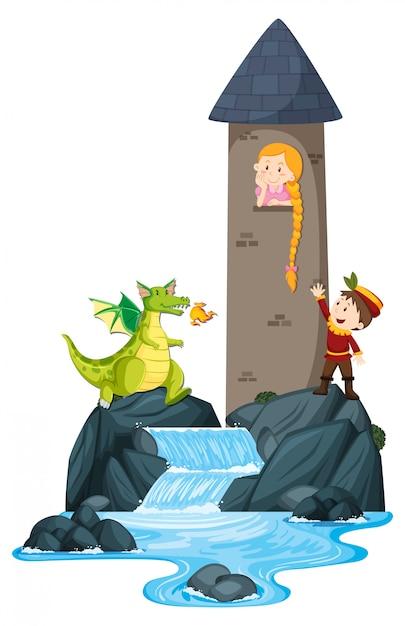 Scena Z Księciem Ratującym Księżniczkę W Wieży Darmowych Wektorów
