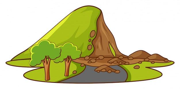 Scena Z Lawiną Błotną W Dół Góry Darmowych Wektorów
