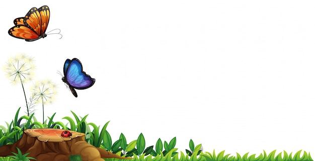 Scena Z Motylami W Ogródzie Darmowych Wektorów