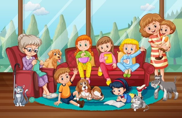Scena Z Osobami Przebywającymi W Domu Z Rodziną Premium Wektorów