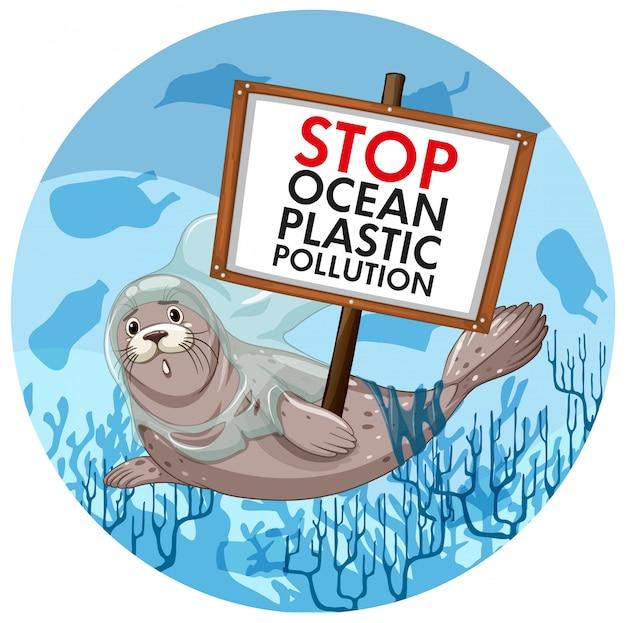 Scena z pieczęci gospodarstwa zatrzymać zanieczyszczenia z tworzyw sztucznych Darmowych Wektorów