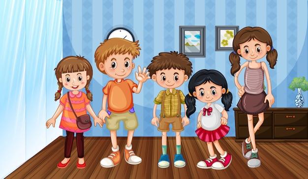 Scena Z Rodziną Dobrze Się Bawiącą W Domu Darmowych Wektorów