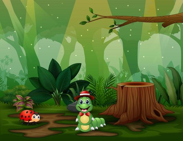 Scena Z Roślinami I Insektami W Ogrodowej Ilustraci Premium Wektorów