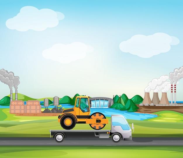 Scena Z Walec Drogowy Na Ciężarówce W Strefie Przemysłowej Darmowych Wektorów