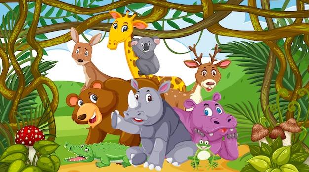 Scena Z Wieloma Dzikimi Zwierzętami W Lesie Premium Wektorów