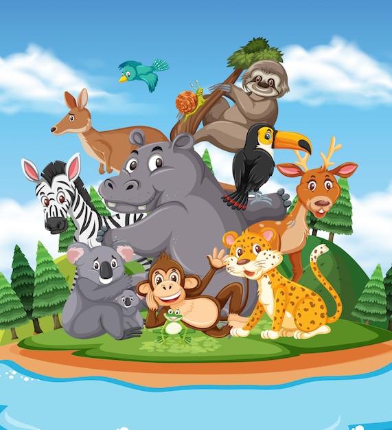 Scena Z Wieloma Dzikimi Zwierzętami W Parku Premium Wektorów