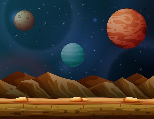 Scena z wieloma planetami w galaktyce Premium Wektorów
