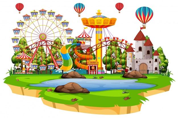 Scena Z Wieloma Przejażdżkami W Funpark Na Białym Tle Darmowych Wektorów
