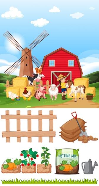 Scena Z Wieloma Zwierzętami I Innymi Przedmiotami Na Farmie Darmowych Wektorów