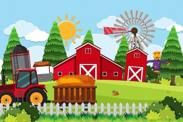 Scena Zewnętrzna Z Magazynem Lub Farmą Premium Wektorów